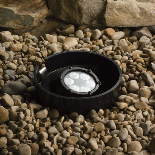 【Kichler Lighting 15747BKT LED Well Light 6-Light Low Voltage 35 Degree Medium Spread Light Textured Black with Clear Tempered Glass Lens by Kichler】