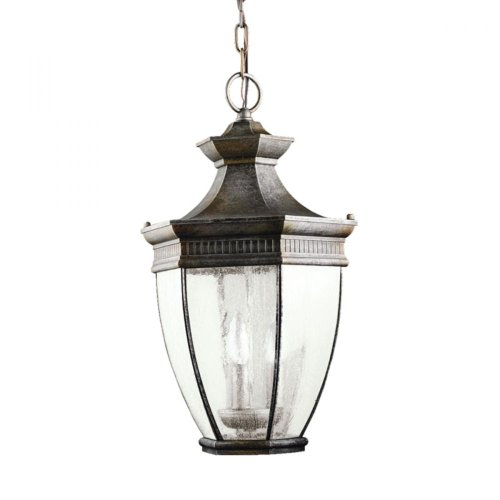 【Kichler Lighting 9371TZ Warrington 3-Light Exterior Hanging Lantern Tannery Bronze Finish with Clear Seedy Glass by Kichler】