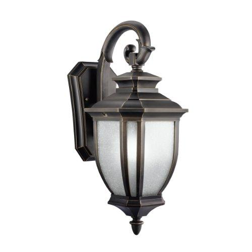 【Kichler Lighting 9040RZ Salisbury 1-Light Outdoor Wall Mount Fixture Rubbed Bronze with White Linen Glass by Kichler】     b000pwd6wm