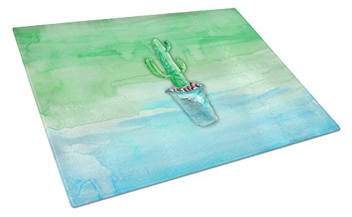 【Caroline 's Treasures bb7362lcb Cactus Teal andグリーン水彩ガラスカッティングボード、L、マルチカラー】     b0722zwq35