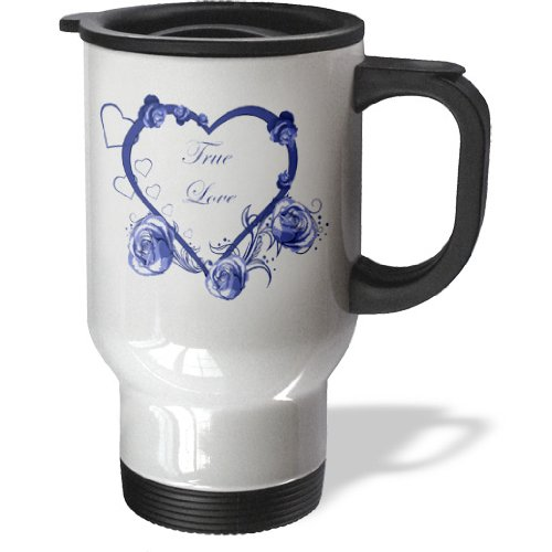 【Anne Marie Baugh Hearts   Aブルーハートwith Roses and the words True Love   旅行マグ 14 oz ホワイト tm_152798_1】     b00dvu1jga