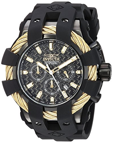 【Invicta Men's 'Bolt' Quartz Stainless Steel and Silicone Casual Watch Color:Black (Model: 23866)】