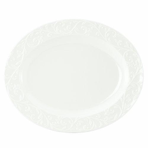 【Lenox Opal Innocence Carved 14-Inch Medium Oval Platter by Lenox】