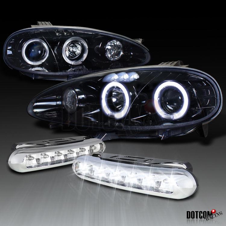 即発 ヘッドライト ピアノブラック01-05 Mazda Miata Mx-5プロジェクターヘッドライトW / LED DRLフォグランプ Piano Black 01-05 Mazda Miata Mx-5 Projector Headlights W/ LED DRL Fog Lamp