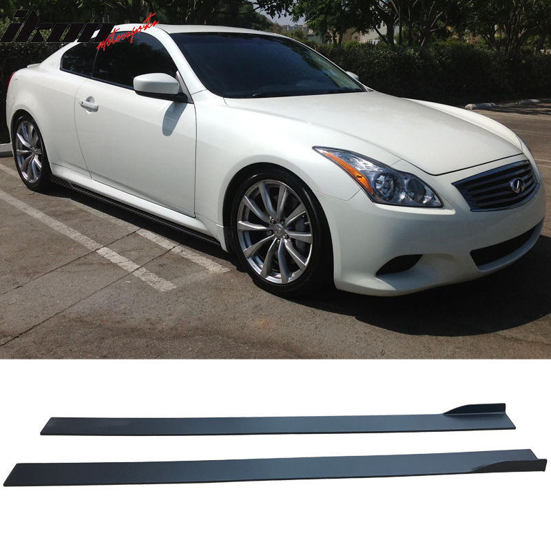 USパーツ フィット08 Infiniti G37Sクーペ炭素繊維テクスチャサイドスカートボトムラインペア Fits 08 Infiniti G37S Coupe Carbon Fiber Texture Side Skirts Bottom Line Pair