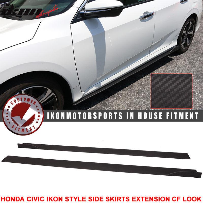 USパーツ 16 UpシビックセダンIKONスタイルサイドスカートエクステンションフラットボトムラインリップ 16 Up Civic Sedan IKON Style Side Skirt Extension Flat Bottom Line Lip
