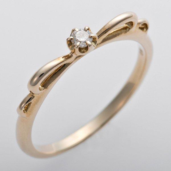 【全国送料無料】K10イエローゴールド 天然ダイヤリング 指輪 ピンキーリング ダイヤモンドリング 0.03ct 2号 アンティーク調 プリンセス リボンモチーフ【ポイントアップ中】