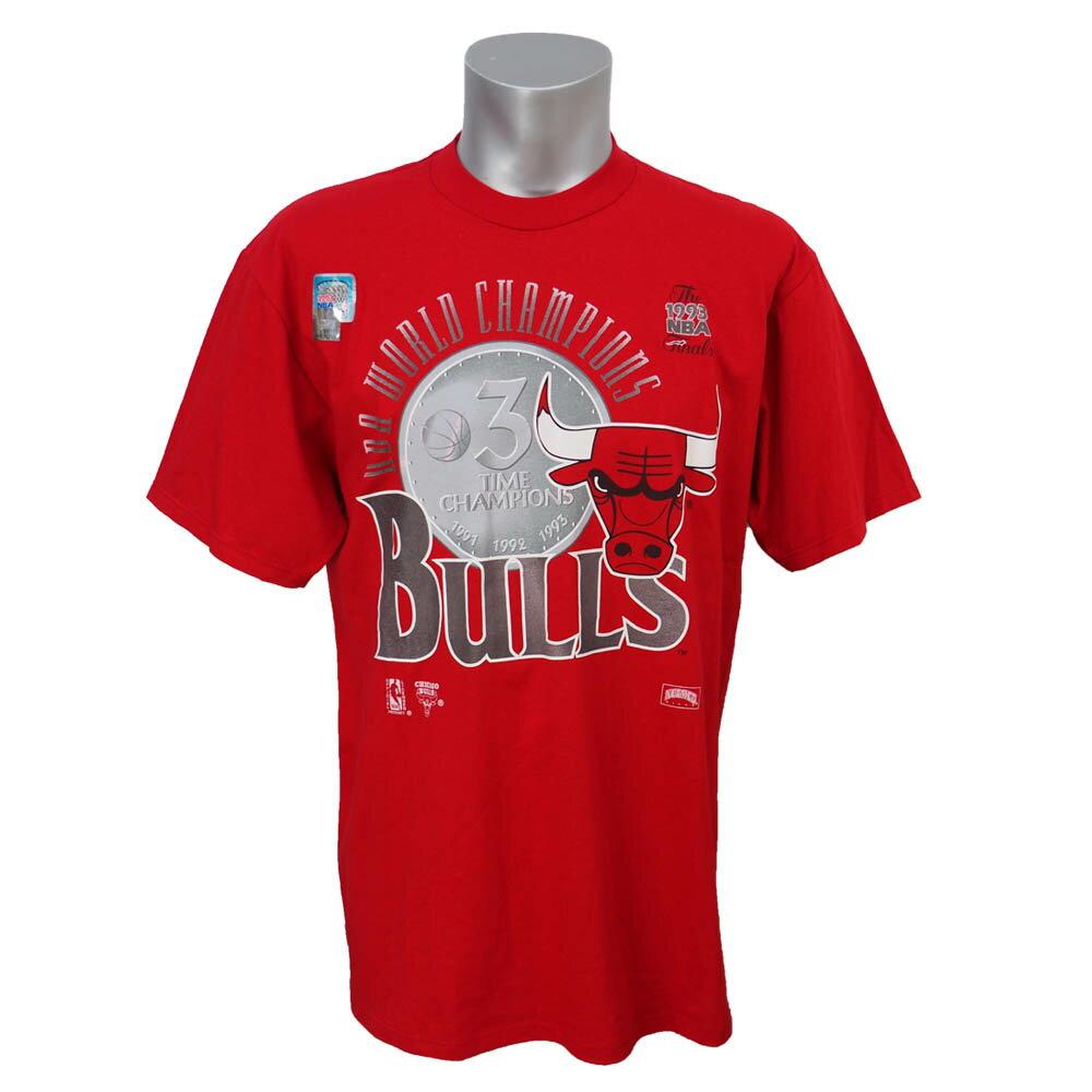 NBA ブルズ 1993年度 NBAファイナル 3連覇達成記念Tシャツ Nutmeg レッド レアアイテム