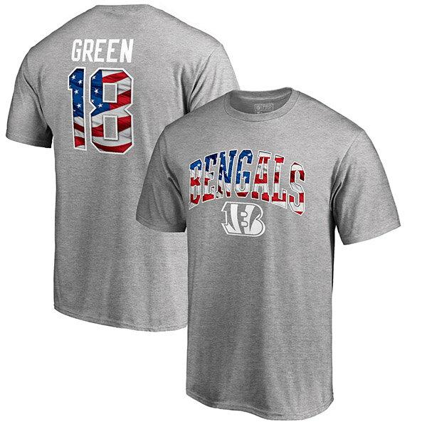 お取り寄せ NFL ベンガルズ A.J.・グリーン バナー ウェーブ ネーム&ナンバー Tシャツ ヘザーグレー