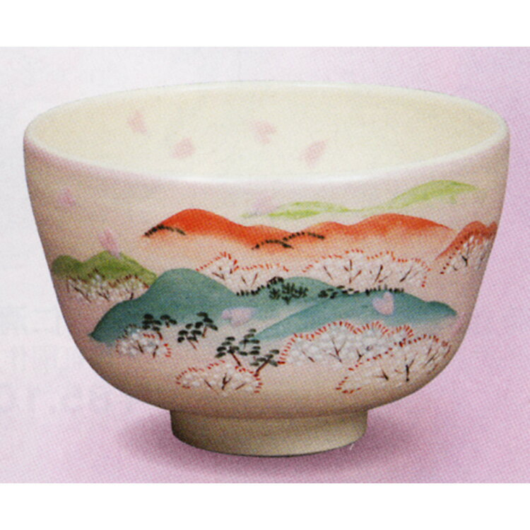 茶碗 淡桃 吉野山 中村与平 (茶道具 通販 楽天)