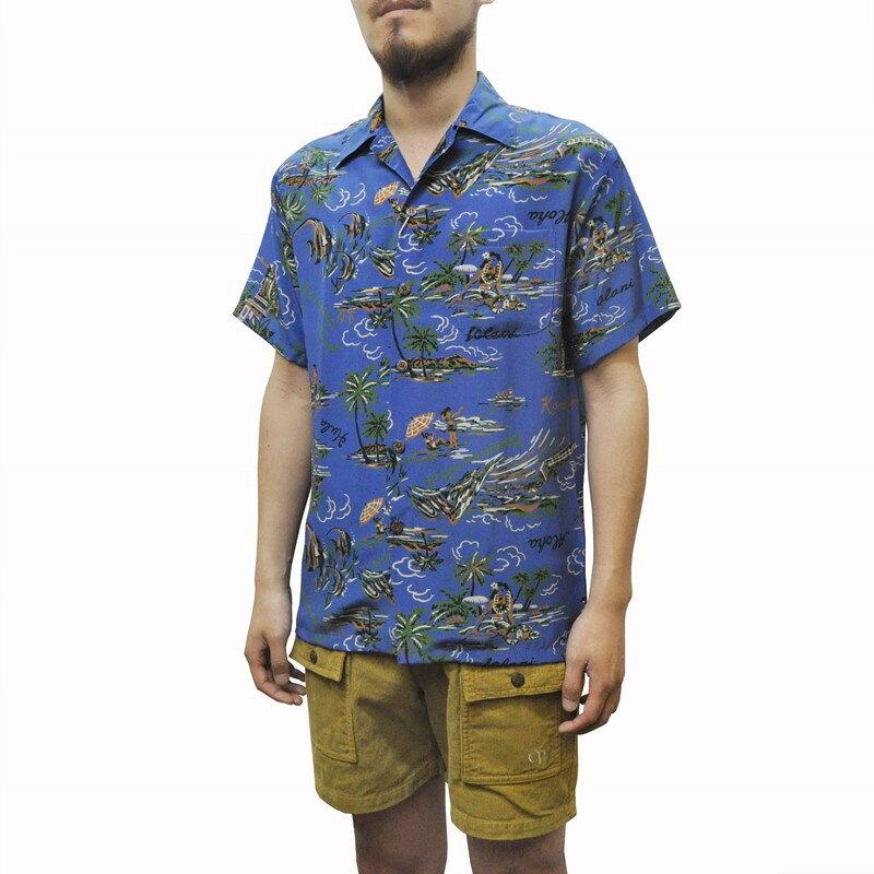 IOLANI(イオラニ) 【MADE IN HAWAII】SEPTIS別注 ALOHA SHIRTS(ハワイ製 アロハシャツ) SILK(シルク) HAWAIIAN SHIRTS BLUE
