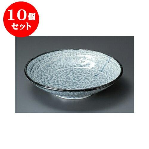 10個セット めん皿 彩イラボ(藍)手捻8.0盛皿 [24 x 5.8cm] 【料亭 旅館 和食器 飲食店 業務用】