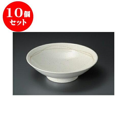 10個セット めん皿 粉引ライン8.0麺鉢 [24.5 x 7.5cm] 【料亭 旅館 和食器 飲食店 業務用】