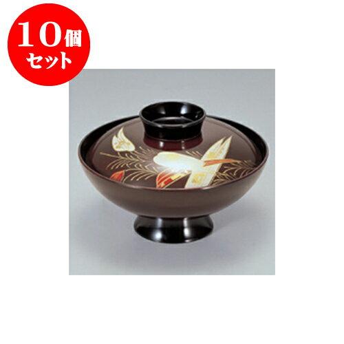 10個セット 小吸碗・煮物椀 [A]4.5寸小槌吸椀溜箔笹 [12.9 x 8.7cm] 【料亭 旅館 和食器 飲食店 業務用】