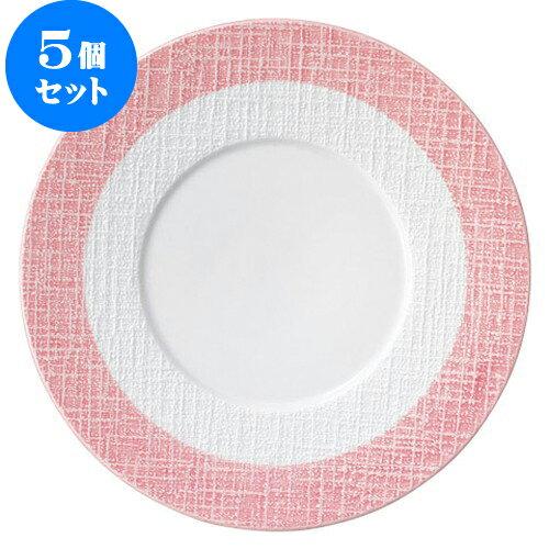 5個セット テラ ピンクライン 24cmミート [D24.2 X H2.4cm]   【洋食器 モダン レストラン ウェディング バー カフェ 飲食店 業務用】