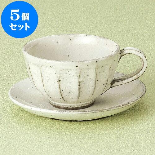 5個セット コーヒー 粉引面取りコーヒーC/S [ 9.7 x 6cm 220cc ・ 14 x 2cm ] 料亭 旅館 和食器 飲食店 業務用