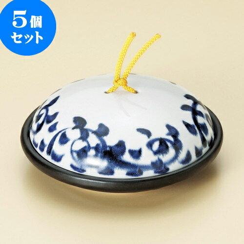 5個セット 陶板 染付タコ唐草陶板鍋(大)(蓋強化) [ 18.5 x 7.7cm ] 料亭 旅館 和食器 飲食店 業務用