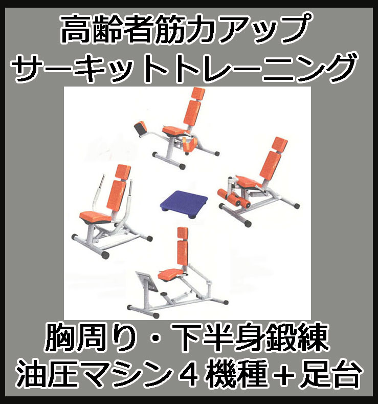 【デイサービス 油圧マシン】GYMシリーズ サーキットトレーニング・レイアウトB (胸回り・下半身を鍛える4機種+クッションステップ台)デイサービス向け