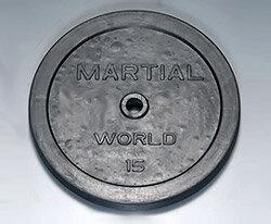 【マーシャルワールド バーベルプレート】マーシャルワールド製 ラバープレート 15kg(1枚) RP15000 (送料別)