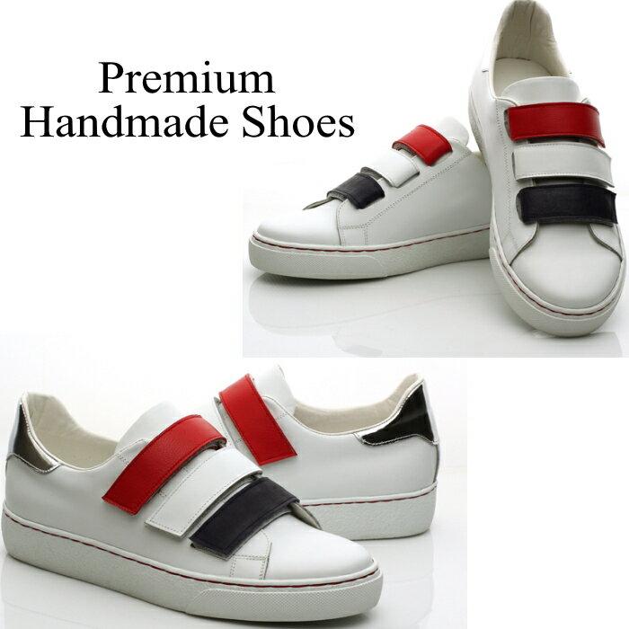 3連ストラップレザースニーカー 本革スニーカー ハンドメイドシューズ 靴通販