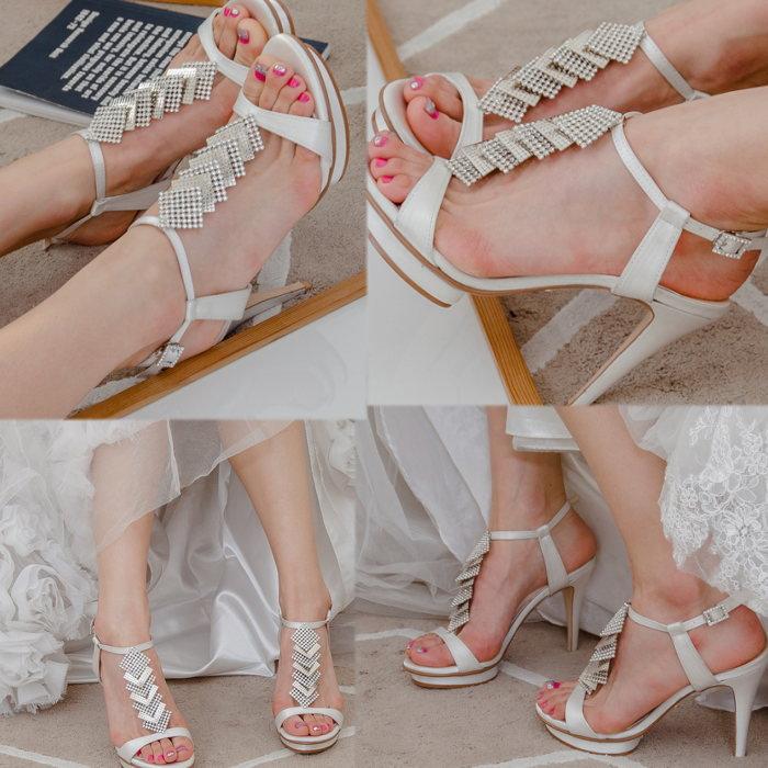 キラキラビジューストラップドレスサンダル プロポーズギフト ウエディング 結婚式 パーティー ドレス