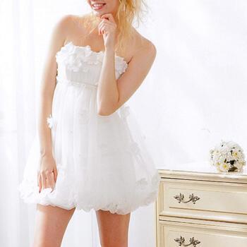 ウェディングドレス  レンタル「小花ドレープレース」【9号】【ミニドレスなのにロングドレスにも変身しちゃう!お袖付ラブリーウェディングドレス。さらにロングトレーンもプラスできます!】【fy16REN07】