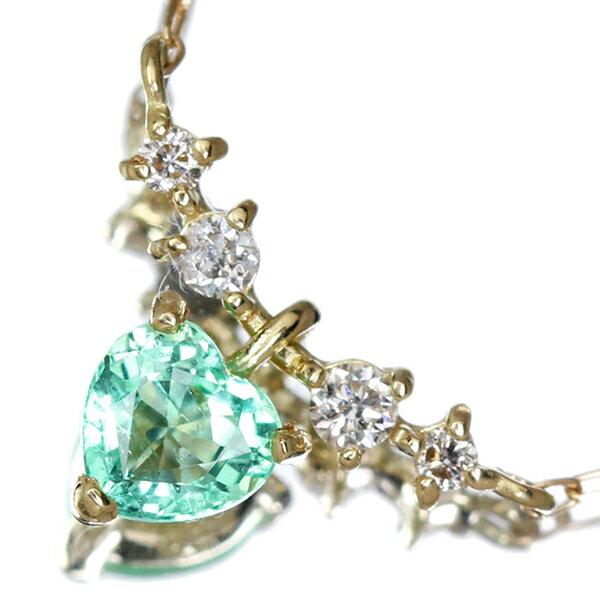 K18 エメラルド ネックレス 0.08ct ダイヤモンド ダイヤ【送料無料】