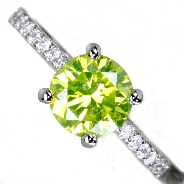 【HANDMADE】アップルグリーンダイヤモンド リング 1.46ct FANCY VIVID GREEN YELLOW VS2/ダイヤモンド 0.302ct PT950※GIA鑑定書付【送料無料】