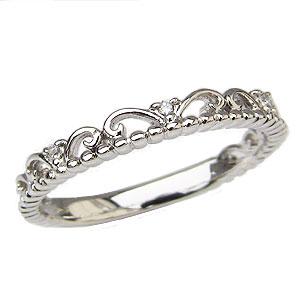 ダイヤモンドリング ティアラリング 王冠 ダイヤモンド 指輪 ダイヤ 0.02ct K18 ホワイトゴールド【RCP】