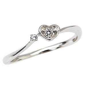 防水 ハートリング ダイヤモンドリング ピンキーリング プラチナ 指輪 ダイヤモンド 0.03ct ハートモチーフ【RCP】