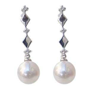 あこや本真珠 ピアス パール ダイヤモンド 6mm K18WG ホワイトゴールド ひし形【RCP】