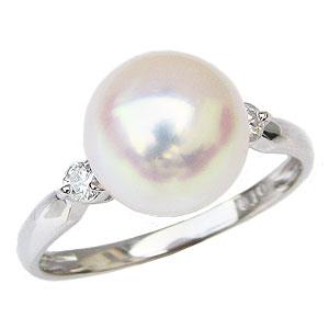真珠パール リング あこや本真珠 K10WG ホワイトゴールド 真珠の直径9mm ホワイトピンク系 ダイヤモンド 2石 計0.10ct 指輪 送料無料【RCP】