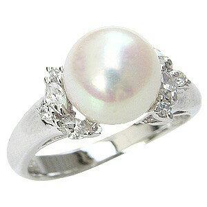 花珠真珠 パールリング  真珠指輪 純プラチナ PT999 あこや本真珠 大珠 9mm ダイヤモンド 0.26ct【RCP】