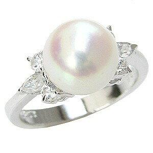 花珠真珠 パールリング 真珠指輪 大珠9mm あこや本真珠 純プラチナ PT999 ダイヤモンド 0.36ct ブライダルリング【RCP】