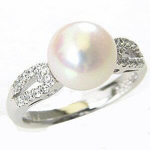 花珠真珠 パールリング 真珠指輪 花珠 本真珠 あこや ダイヤモンド 0.17ct 純プラチナ PT999【RCP】
