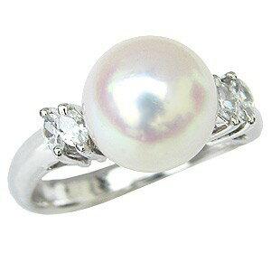 花珠真珠 パールリング 純プラチナ PT999 真珠指輪 大珠9mm あこや本真珠 ダイヤモンド 0.20ct ブライダルリング【RCP】