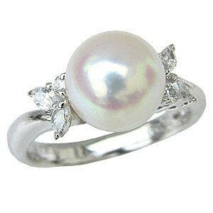 花珠真珠 パールリング 純プラチナ PT999 真珠指輪 あこや本真珠 大珠 9mmダイヤモンド 0.24ct【RCP】