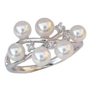 真珠 指輪 あこや本真珠 パール リング ダイヤモンド ホワイトゴールド【RCP】