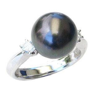真珠 パール リング タヒチ黒蝶真珠 10mm 指輪 リング Pt900 プラチナ ダイヤモンド【RCP】