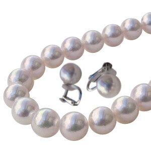 真珠パール 6月誕生石 あこや本真珠 ネックレス イヤリングまたはピアス 2点セット 8-8.5mm アコヤ本真珠 ネックレスの長さ42cm【RCP】