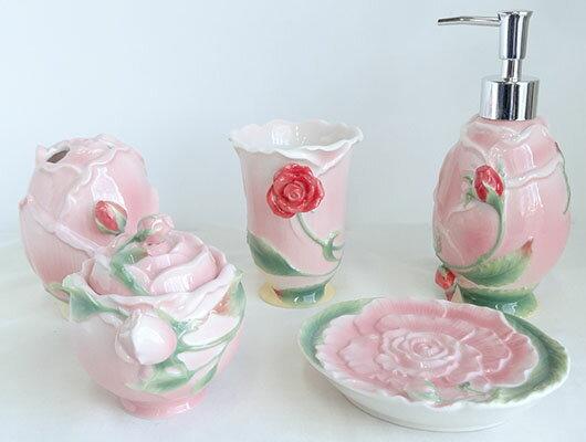 【即納可!!】再入荷しました♪陶器 バスルーム 5点セット ピンク バラ