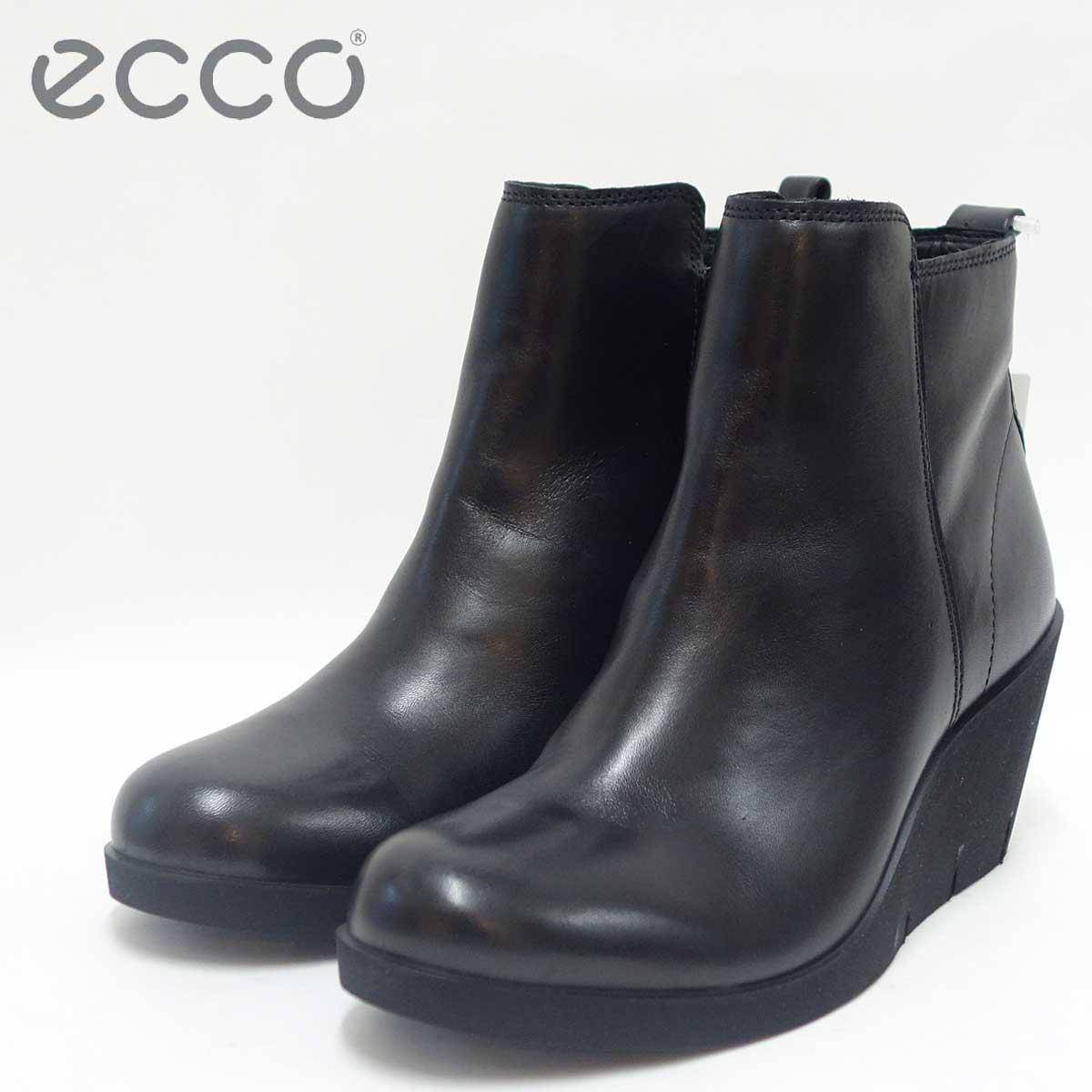 ECCO エコー 282503 ブラック(レディース)スムースレザー ウェッジヒール ショートブーツECCO BELLA WEDGE Low cut zip「靴」