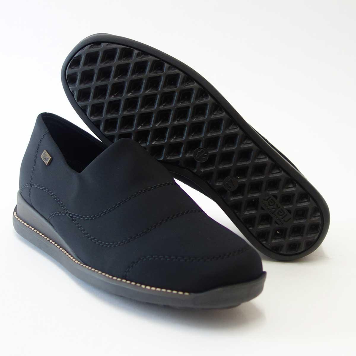 信頼老舗 防水素材内蔵ストレッチシューズrieker リーカー 44260 ブラックドイツ生まれの快適フラットシューズ「靴」