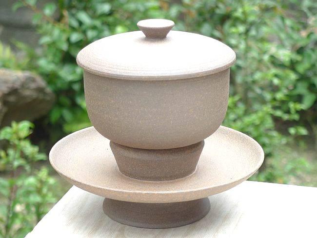 京焼   清水焼 焼締 蓋付汲出碗 (天目台付)
