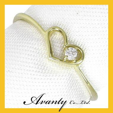 【Avanty】送料無料(K18イエローゴールド:K18YGダイヤ0.02ct)オープンハートダイヤリング