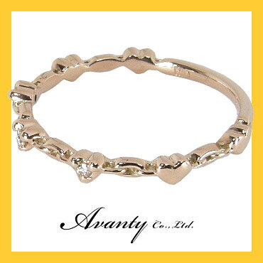 【Avanty】ダイヤ0.03ct:7つのハートのダイヤリング:K10PG/K10ピンクゴールド