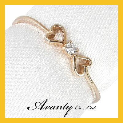 【Avanty】K18ピンクゴールド:リボンダイヤリング