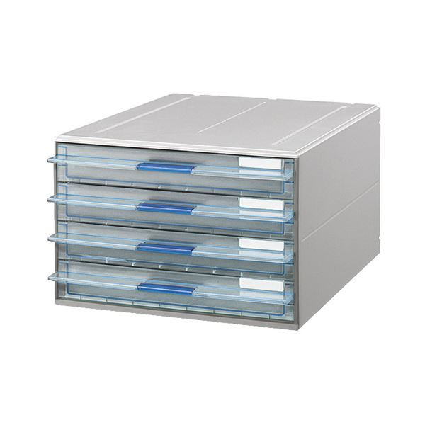 (まとめ) コクヨ レターケース(UNIFEEL) 透明引出しタイプ A4タテ 浅型4段 ライトグレー LC-UNT104M 1台 【×2セット】