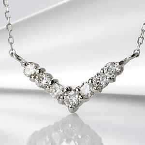 ファッション・ジュエリー・アクセサリー・レディース・ネックレス・ペンダント・ゴールド・ホワイトゴールド・イエローゴールド・ダイヤモンド・ダイアモンド・ダイヤ・ダイア・V・V字・K18・4月誕生石・送料無料・品質保証書・プレゼント *