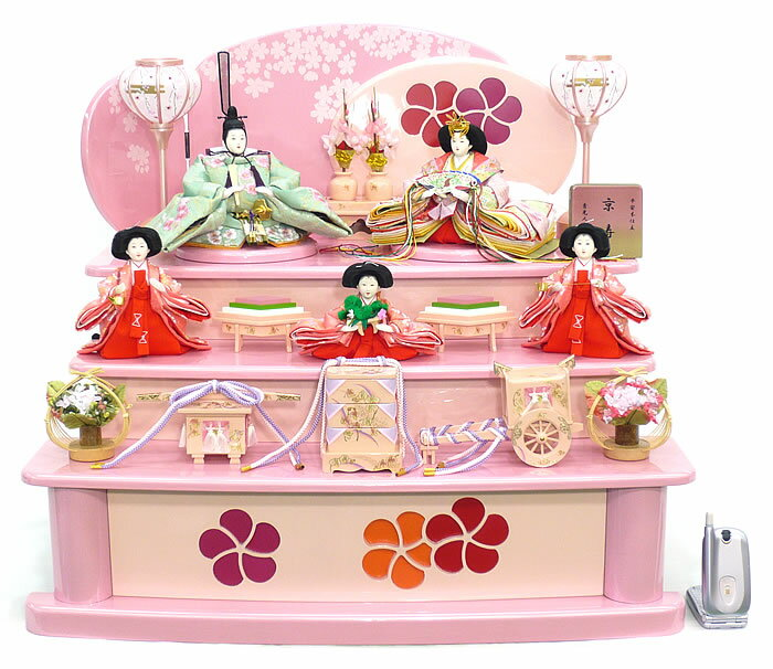 雛人形 ひな人形 お雛様 おひなさま 送料無料 段飾り 五人飾り 三段 秀光 人気 ランキング 新作 【p81103】